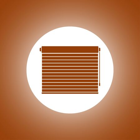 blinds: Louvers rolls sign icon. Window blinds or jalousie symbol. Circle flat button with shadow. Modern UI website navigation