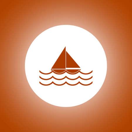 Boat and sea wave icon. Concept illustration for design.