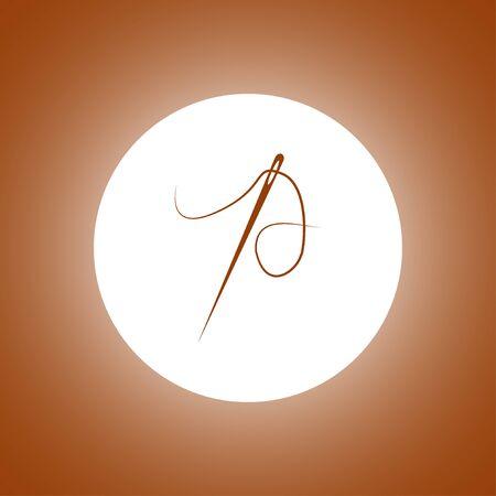 Needle icon Flat design style