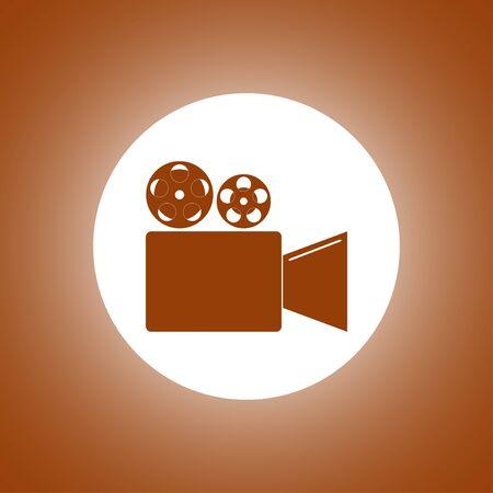 past production: Cinema camera icon. Flat design style