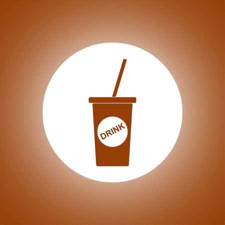 carbonated beverage: paper coffee cup. Flat design style