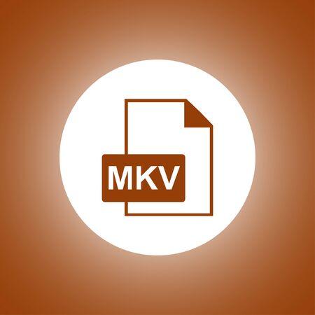 mov: mkv file icon. Flat design style