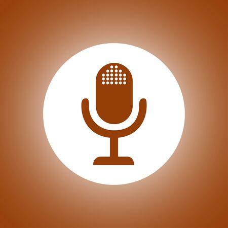 entertaining presentation: microphone web icon, flat design vector