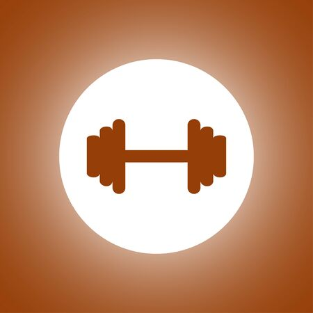 hand with dumbbell: Vector modern flat dumbbell icon.