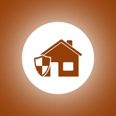 guard house: house shield icon. Flat design style
