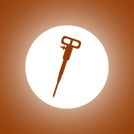 Pneumatic hammer drill line icon for web, mobile and infographics. Illustration