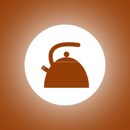 Kettle. Single flat icon on the circle. Vector illustration