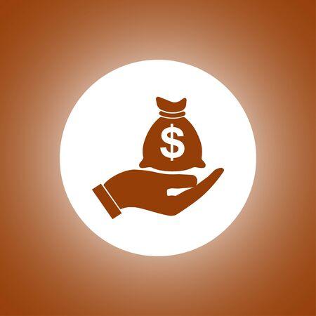 Money insurance sign. Hand holds cash bag in Dollars symbol. Modern UI website navigation. Illustration