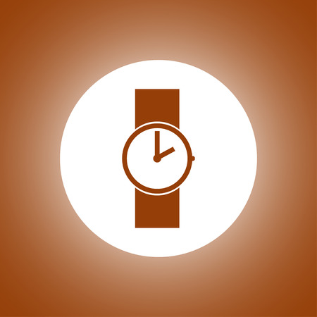Wristwatch icon. Flat design style Illustration