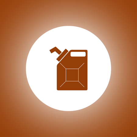 filling station: Jerrycan oil vector icon. Flat design style