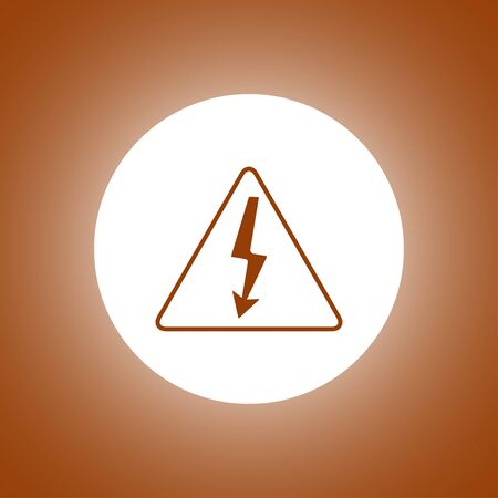 yellow beware: High voltage - Vector illustration. Flat design style