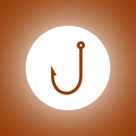 barbed: Hook icon. Flat design style