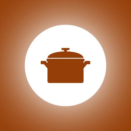 steel pan: Icono cacerola. Estilo de diseño Flat Vectores