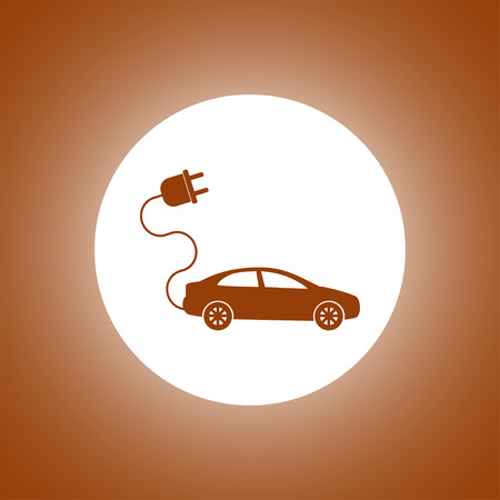 electric car icon. Flat design style
