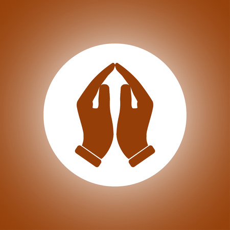 worship praise: Praying hands icon, vector illustration. Flat design style Illustration