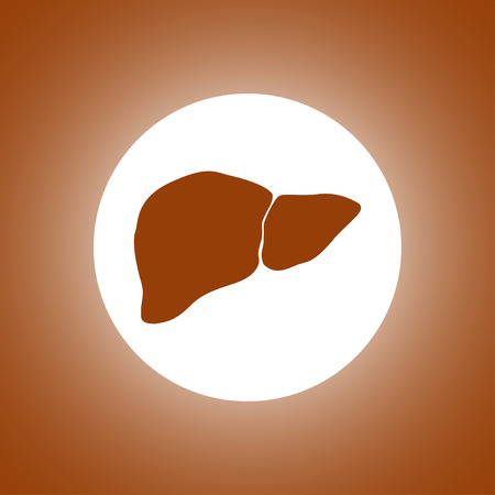 bile: Vector flat liver icon. Flat design style