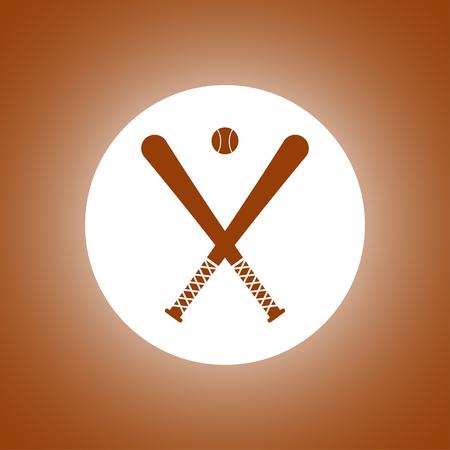umpire: Vector crossed baseball bats and ball set.