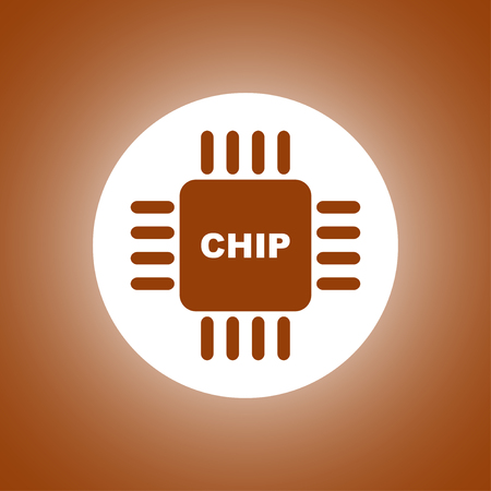 gpu: Vector chip icon, isolated vector illustration