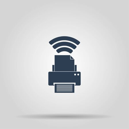 mfp: Printer with wi-fi connection, vector icon. Concept illustration for design. Illustration