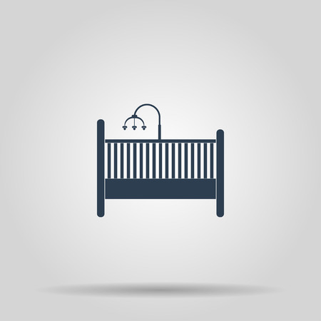 cot: baby cot and carousel Icon. Concept illustration for design.
