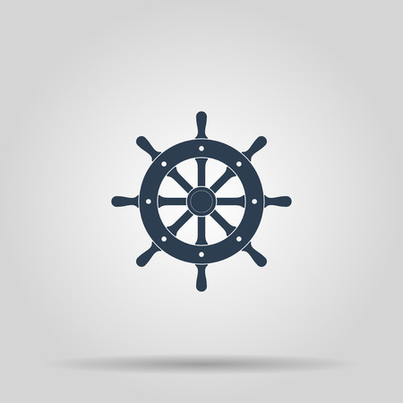 Ship steering wheel sign icon, vector illustration. Flat design style