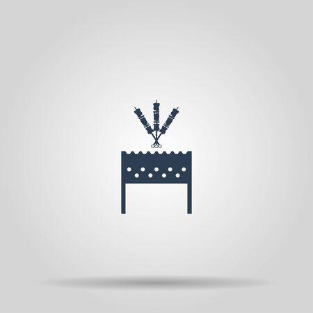 roaster: Brazier zephyr, chicken and kebab icon. Concept illustration for design. Illustration