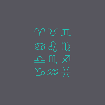 water birth: Flat trendy zodiac symbols with shadows. illustration Illustration