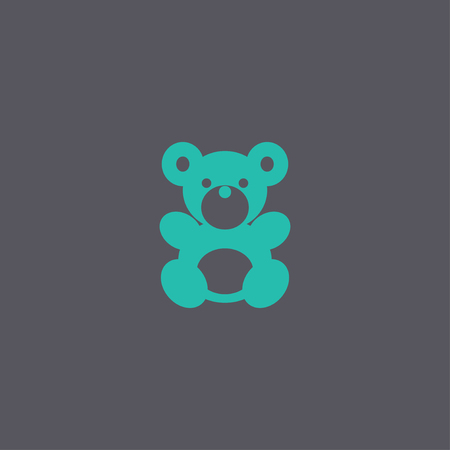 plush: Teddy bear plush toy flat icon for apps and websites Illustration