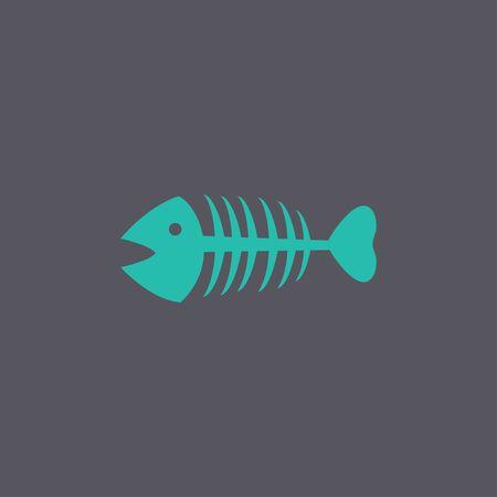 skeleton fish: Fish skeleton. Flat design style eps 10
