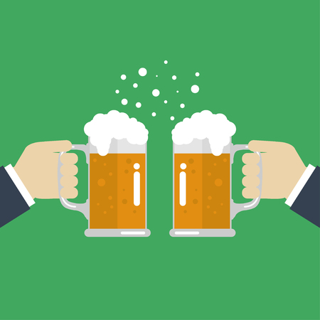 beer stein: Toasting glasses of beer.  Illustration EPS