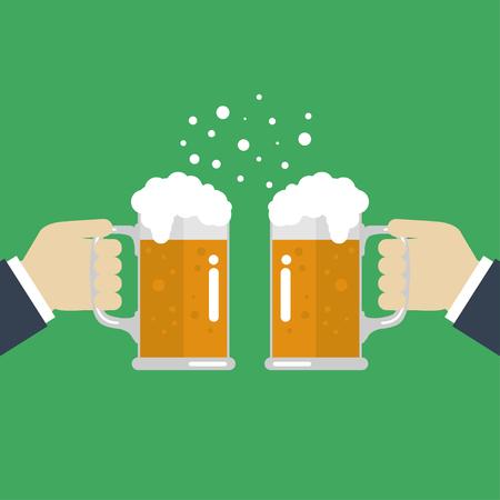 Tostado vasos de cerveza. EPS ilustración Foto de archivo - 66542744