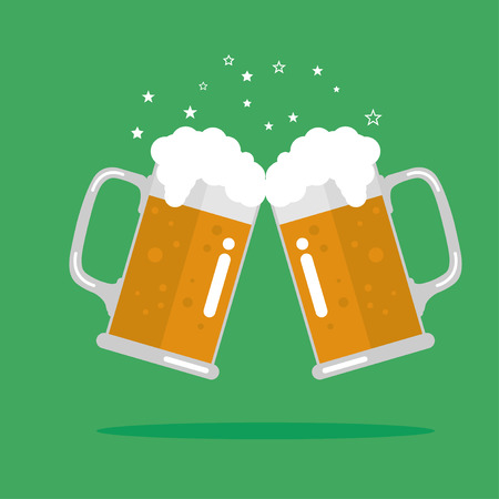 Toasting glasses of beer.  Illustration EPS