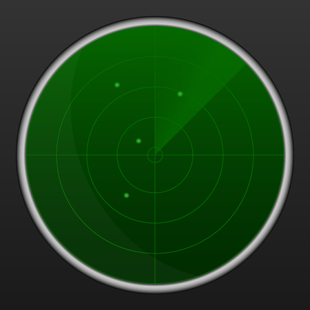 sonar: Realistic vector radar in searching . Air search . Military search system blip illustration . Navigation interface wallpaper . Navy sonar