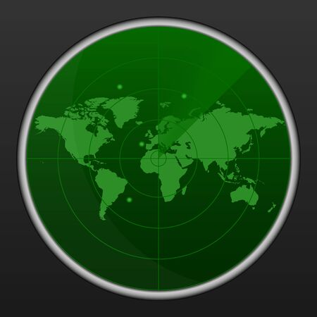 Realistic vector radar in searching . Air search . Military search system blip illustration . Navigation interface wallpaper