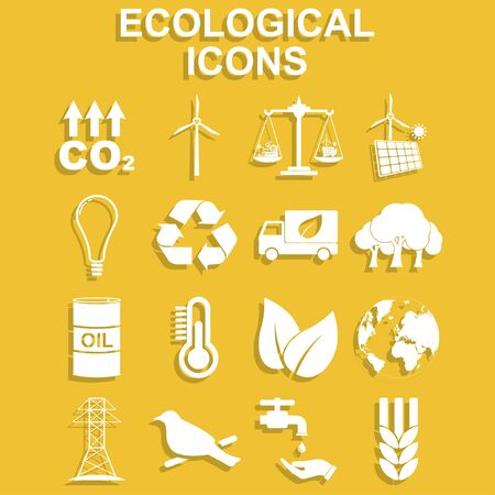Ecology icons. Vector concept illustration for design