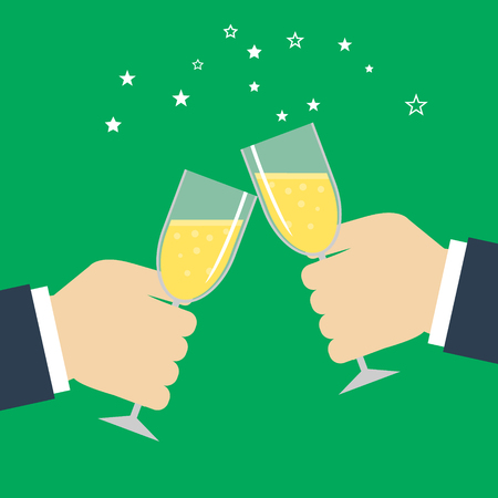 companionship: Business success celebration. Hands holding glasses. EPS Illustration