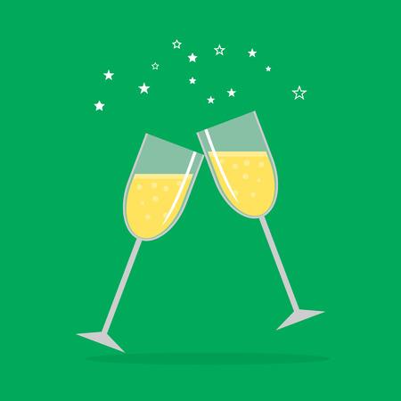 Business success celebration. Hands holding glasses. EPS Illustration