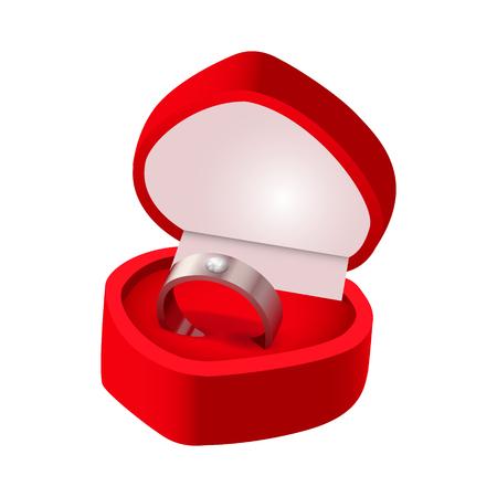 Wedding ring box. Good for wedding, card, invitation design. Vector illustration.