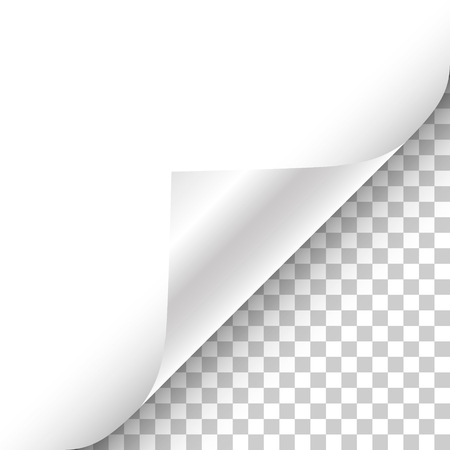 White page curled corner with shadow on transparent background realistic vector illustration.