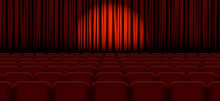 Spotlight on stage curtain Vector illustration EPS 일러스트