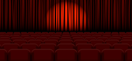 Spotlight on stage curtain Vector illustration EPS Çizim