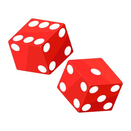Shiny red dices on the white background - Vector illustration Illustration