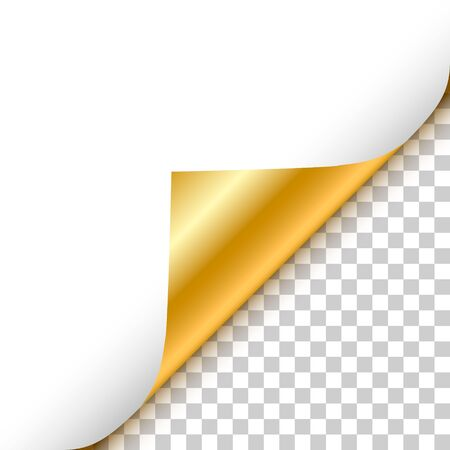 Gold curled corner with reflection and shadow on transparent background realistic vector illustration