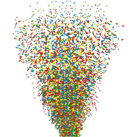 Colorful confetti cannon shot. Vector.