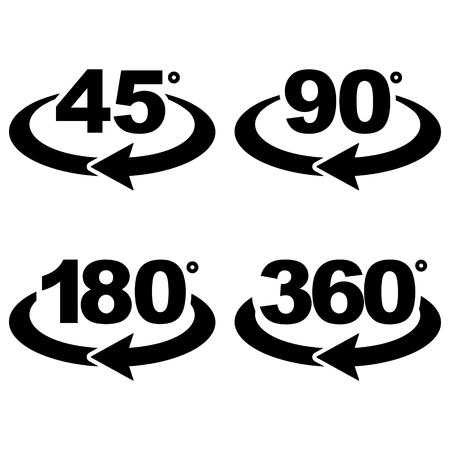 Conjunto de torções para diferentes graus, web icon ilustração vetorial