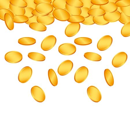 Falling gold coins. Vector financial concept background. Investment illustration.