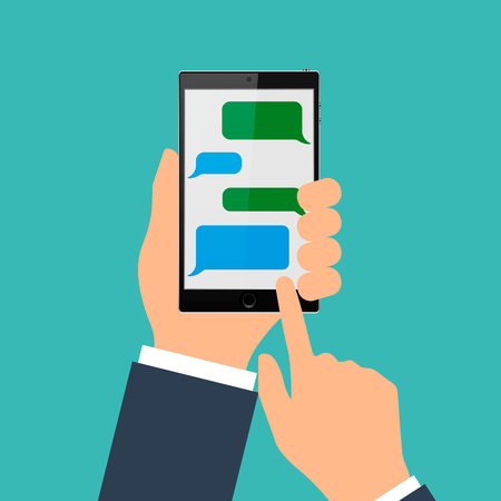 Hand holding black mobile phone with blank speech bubbles for text; Text messaging flat design concept illustration.
