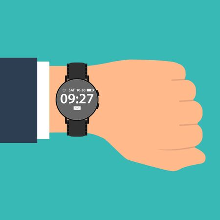 smart watch on the hand of businessman in suit. Time on wrist watch. Man with clock checks the time. Hand with clock isolated on background.