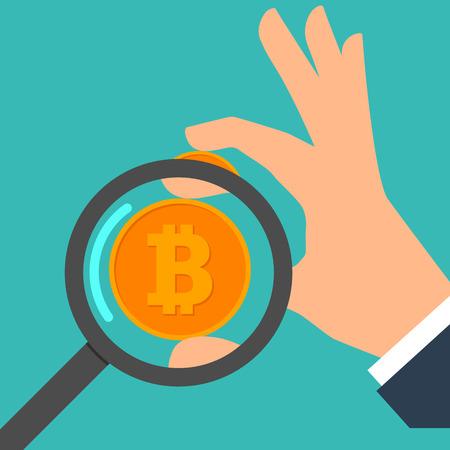 Flat design, hand holding bitcoin. vector illustration.