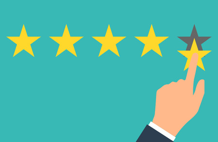 Star rating. Five flat yellow web button stars ratings. Evaluation system. Positive review. Vector illustration flat design. Isolated on white background. Quality work